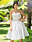 A-line/Princess Plus Sizes Wedding Dress - Ivory Knee-length Sweetheart Satin