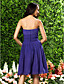 Lanting Bride® Tot de knie Chiffon Bruidsmeisjesjurk A-lijn / Prinses Strapless / Hartvormig Grote maten / Petite metDrapering /