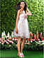 Homecoming Knee-length Satin/Tulle Bridesmaid Dress - Blushing Pink Plus Sizes A-line/Princess Strapless