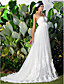 Lanting una línea / princesa más el tamaño de vestido de novia - capilla de marfil de la gasa de novia de tren