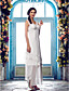 Lanting Bride® Sheath / Column Plus Sizes / Petite Wedding Dress - Chic & Modern / Glamorous & Dramatic / Reception Asymmetrical V-neck