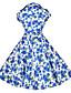 Γυναικεία Εξόδου / Γιορτή Βίντατζ Γραμμή Α / Skater Φόρεμα,Φλοράλ Κοντομάνικο Κολάρο Πουκαμίσου Ως το Γόνατο Μπλε / Κόκκινο Βαμβάκι