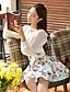 여성의 솔리드 라운드 넥 긴 소매 셔츠,귀여운 데이트 베이지 폴리에스테르 / 스판덱스 가을 중간