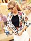Zamotajte Ženski,Ulični šik Ležerno/za svaki dan Cvjetni print-Dugih rukava Okrugli izrez-Proljeće Više boja Srednje Poliester