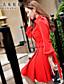 여성의 메쉬 드레스 셔츠 카라 긴 소매 무릎 위 폴리에스테르 / 스판덱스