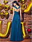 TS Couture Matura Formalna večer Haljina - Elegantno A-kroj V izrez Do gležnja Žoržet s Falte