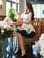 여성의 빈티지 칼집 / 스윙 드레스 플로럴 무릎 위 셔츠 카라 폴리에스테르 / 스판덱스