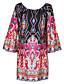 פוליאסטר מיני סירה רחב דפוס שמלה משוחרר בוהו / סגנון רחוב נשים
