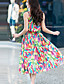 Naiset Sifonki Swing Mekko Boheemi Katutyyli Rento/arki,Painettu Olkaimellinen Midi Hihaton Puuvilla Polyesteri Kesä Korkea vyötärö