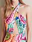 Kvinner Blomstret Halter En del Nylon / Polyester