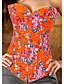 Damer Overbustkorsett Nattøy,Trykt mønster Trykt mønster Polyester Rosa / Grønn / Oransje