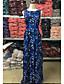 Damen Swing Kleid-Ausgehen Einfach Druck Rundhalsausschnitt Maxi Ärmellos Blau Polyester Sommer Mittlere Hüfthöhe