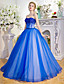 De Baile Princesa Sem Alças Longo Tule Evento Formal Vestido com Detalhes em Cristal Lantejoulas de MMHY