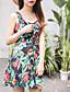 Kvinders Simpel I-byen-tøj A-linje Kjole Blomstret,U-hals Over knæet Uden ærmer Grøn Bomuld Sommer