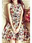 Kvinders Vintage Casual/hverdag Skede Kjole Trykt mønster,Halter Mini Uden ærmer Blå / Hvid Polyester Sommer