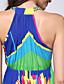 de praia, mais o vestido de tamanho, imprimir cinta midi mangas multi-color acrílico verão doce curva das mulheres