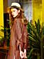 liangsanshi kvinders gå ud vintage foråret shirt, stribet v hals langærmet brun polyester medium