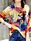 여성 프린트 라운드 넥 ¾ 소매 블라우스,보호 캐쥬얼/데일리 오렌지 폴리에스테르 여름 얇음