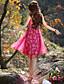 Dame Vintage I-byen-tøj / Plusstørrelser Shift Kjole Blomstret,Med stropper Maxi Langærmet Rosa Polyester Sommer Alm. taljede Uelastisk
