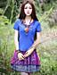 Mulheres Camiseta Happy-Hour Boho Verão,Sólido Azul Poliéster Decote Redondo Manga Curta Média