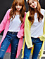 Dame Sødt I-byen-tøj Lang Cardigan Ensfarvet,Rosa / Sort / Grå / Gul Halter Langærmet Bomuld / Polyester Efterår Tyk Mikroelastisk