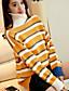 Dames Uitgaan Casual/Dagelijks Eenvoudig Street chic Normaal Pullover Gestreept-Wit Geel Coltrui Lange mouw Polyester Lente Herfst Medium