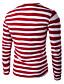 Bomull Blå / Rød / Sort / Grønn Medium Langermet,Rund hals T-skjorte Stripet Vår Enkel / Aktiv Fritid/hverdag / Plusstørrelser Herre