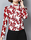 Polyester Blå / Rød Medium Langermet,Høy krage T-skjorte Blomstret Høst Vintage Fritid/hverdag Dame