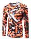 Polyester Hvit / Oransje Medium Langermet,Rund hals T-skjorte Trykt mønster Høst / Vinter Enkel Fritid/hverdag / Arbeid Herre
