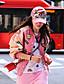 Langærmet Høj krave Medium Kvinders Rosa Patchwork Efterår Street I-byen-tøj / Casual/hverdag Læderjakker,PU