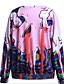 Damen Pullover Lässig/Alltäglich 3D-Druck Druck Rundhalsausschnitt Mikro-elastisch Baumwolle Langarm Herbst Winter