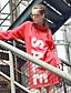 Damen Etuikleid Kleid-Lässig/Alltäglich Street Schick Buchstabe Mit Kapuze Übers Knie Langarm Rot Baumwolle Winter Mittlere Hüfthöhe