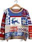 Damen Standard Pullover-Lässig/Alltäglich Niedlich Druck Blau Rot Grün Rundhalsausschnitt Langarm Baumwolle Polyester Herbst Winter Mittel