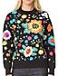 Damen Standard Pullover-Lässig/Alltäglich Formal Einfach Street Schick Stickerei Schwarz Rundhalsausschnitt LangarmKunstseide Polyester