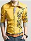 Masculino Camisa Casual / Escritório / Tamanhos Grandes Estampado / Cor Solida Manga Comprida Misto de AlgodãoPreto / Azul / Verde / Roxo