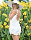 Mulheres Vestido Solto Casual Sólido / Patchwork Mini Decote Redondo Poliéster