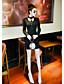 Damen Bodycon Kleid-Party/Cocktail Klub Sexy Solide Rundhalsausschnitt Übers Knie Langarm Schwarz Baumwolle Sommer Mittlere Hüfthöhe