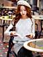 Naisten Pitkähihainen Samea Keskipaksu Pyöreä kaula-aukko Akryyli Polyesteri Nylon Spandex Kevät Syksy Söpö Katutyyli HienostunutLoma