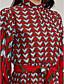 Damen Lose Kleid-Lässig/Alltäglich Retro Street Schick Geometrisch Rundhalsausschnitt Midi Langarm Baumwolle Frühling Mittlere Hüfthöhe