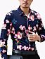 Masculino Camisa Casual / Escritório / Tamanhos Grandes Floral Manga Comprida Algodão / Poliéster Azul