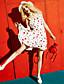 Naiset A-linja Mekko Rento/arki,Painettu Olkaimellinen Midi Reisipituinen Hihaton Polyesteri Kesä Keski vyötärö Mikrojoustava Ohut