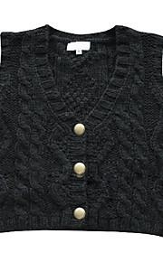 v-hals metalen knopen vest dames trui (1002al0