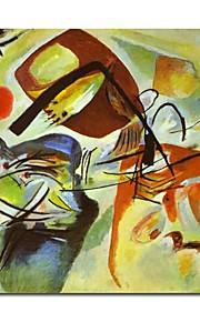håndmalte oljemaleri bilde med en svart bue av Wassily Kandinsky med strukket ramme