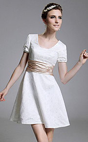TS Couture® Cocktail Party / Graduation / Holiday Dress - White Plus Sizes / Petite A-line / Princess Square Short/Mini Lace