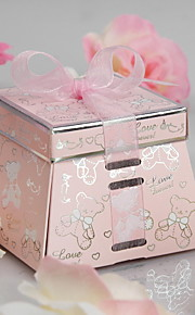 """Forever Love"" Bear Favor Box With Pink Ribbon (Set of 12)"