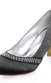 satijnen hogere middenklasse hiel-tenen gesloten met strass huwelijk bruids schoenen. meer kleuren beschikbaar