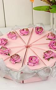 rose boîte de tranche de gâteau avec des arcs d'argent (jeu de 10)