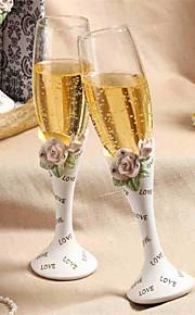 Chic Diamond-embedded Rose Design Wedding Toasting Flutes