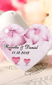 personnalisé étiquette de faveur en forme de coeur - fleur fuchsia (jeu de 60)