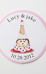 Personalized Round Favor Stickers – Icecream (Set of 36)